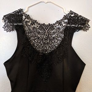 NWT black lace peplum tank top shirt